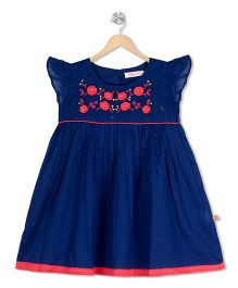 Budding Bees Embroidered Gathered Dress - Blue