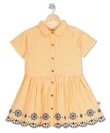 Budding Bees Checked Embroidered Dress - Orangish Yellow