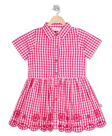 Budding Bees Checked Embroidered Dress - Pink
