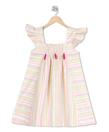 Budding Bees Striped A-Line Dress - Off White