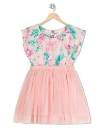 Budding Bees Floral Fit & Flare Dress - Pink