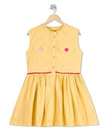 Budding Bees Solid Dress - Yellow