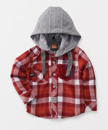 Little Kangaroos Full Sleeves Hooded Check Shirt - Red Grey