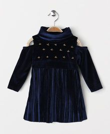 Little Kangaroos Party Wear Cold Shoulder Frock Bead Detailing - Navy