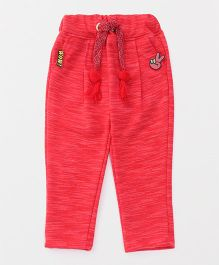 Little Kangaroos Full Length Lounge Pants With Drawstring - Red
