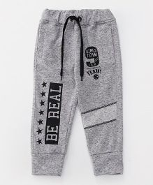 Little Kangaroos Full Length Track Pants With Drawstring Numeric 9 Print - Grey Black
