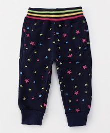 Little Kangaroos Full Length Thermal Bottoms Star Design - Navy Blue