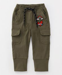 Little Kangaroos Full Length Pants With Drawstring Rainbow Patch - Olive Green