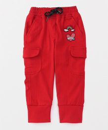 Little Kangaroos Full Length Pants With Drawstring Rainbow Patch - Red