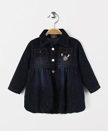 Little Kangaroos Full Sleeves Balloon Style Frock Bird Embroidery - Dark Blue