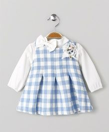 Little Kangaroos Checks Frock With Inner Top - Blue & White
