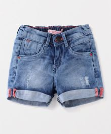 Vitamins Denim Ripped Shorts - Blue
