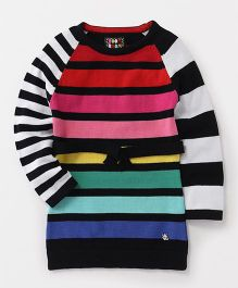Vitamins Full Sleeves Stripe Winter Wear Frock - Multicolour