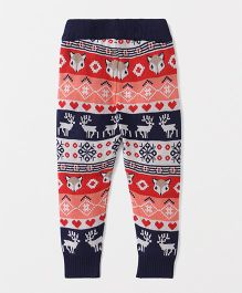 Vitamins Full Length Thermal Bottoms Animal Design - Navy Blue Red