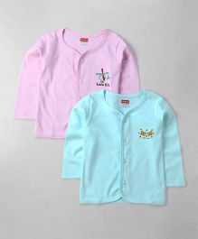 Babyhug Cotton Vests Butterfly Print Set of 2 - Pink Aqua