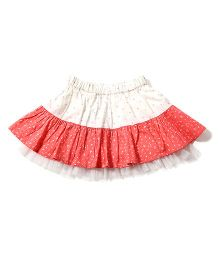 Tiddlywings Triange Print Skirt - White & Peach