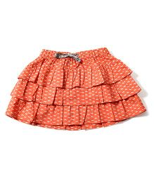 Tiddlywings Leaf Print Skirt - Peachish Orange