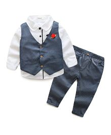 Pre Order - Awabox Stylish Shirt With Waistcoat & Pants - Gray