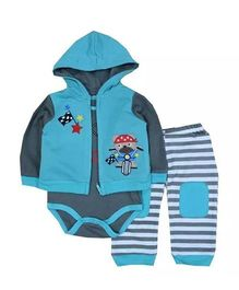 Lilpicks Couture Teddy Onesie Jacket & Pant Set - Blue