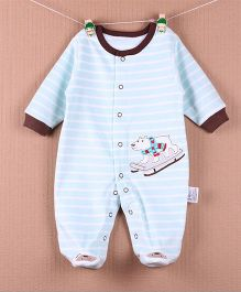 Lilpicks Couture Striped Teddy Romper - Blue