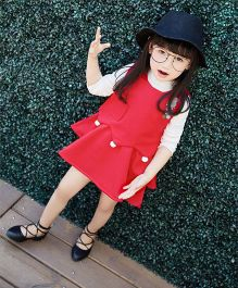 Lilpicks Couture Full Sleeves Top And Skirt Bunny Applique - Red