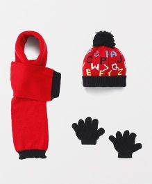 Babyhug Cap And Gloves With Muffler Alphabet Design - Red