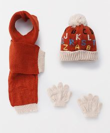 Babyhug Cap And Gloves With Muffler Alphabet Design - Brown