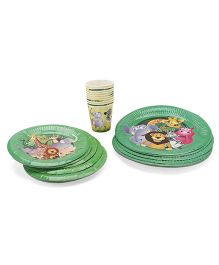 Themez Only Paper Plates And Cups Combo Jungle Theme Green - 30 Pieces
