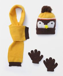 Babyhug Cap And Gloves With Muffler Owl Design - Yellow Brown