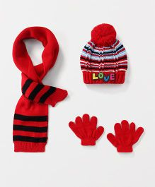 Babyhug Stripe Cap And Gloves With Muffler - Red