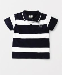 Watermelon Half Sleeve Stripe T-Shirt - Navy & White