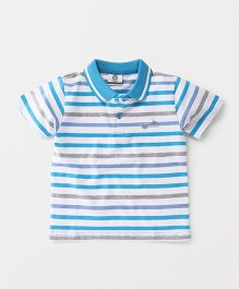 Watermelon Half Sleeve Stripe T-Shirt - Aqua & White