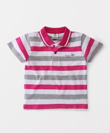 Watermelon Half Sleeve Stripe T-Shirt - Pink & Grey