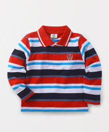 Watermelon Striped Polo Neck T-Shirt - Red & Blue