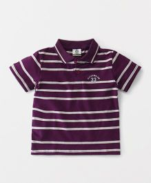 Watermelon Polo Neck Stripe Print Tee - Purple