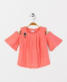 Button Noses Party Wear Cold Shoulder Top Eiffel Tower Brooch - Coral