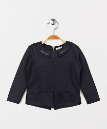 Button Noses Party Wear Full Sleeves Top Studded Detailing - Black