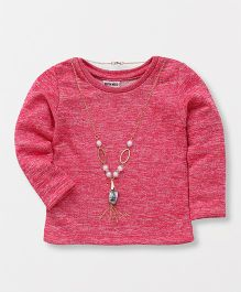 Button Noses Full Sleeves Top With Neck Piece - Pink