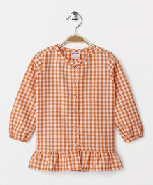 Button Noses Full Sleeves Check Top - Orange White