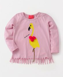 Button Noses Full Sleeves Fringe Top Crane Print - Light Pink