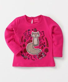 Button Noses Full Sleeves Top Fox Patch - Red