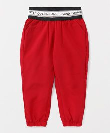 Button Noses Full Length Lounge Pants - Red