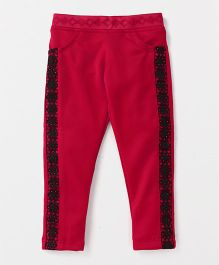 Button Noses Full Length Party Wear Leggings Lace Detailing - Red Black