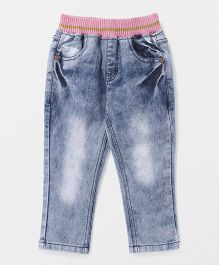 Button Noses Full Length Stone Washed Pull On Jeans - Blue