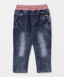 Button Noses Full Length Stone Washed Pull On Jeans - Dark Blue