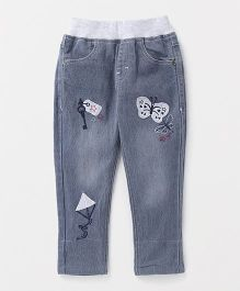 Button Noses Full Length Pull On Jeans Butterfly Patch - Light Grey
