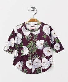 Button Noses Full Sleeves Top Floral Print - Dark Purple