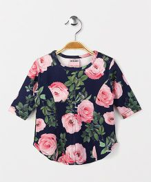 Button Noses Full Sleeves Top Floral Print - Blue