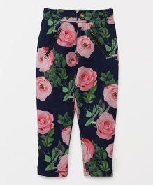 Button Noses Full Length Pants Floral Print - Blue
