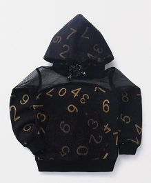Button Noses Full Sleeves Hooded Sweatshirt Number Print - Black